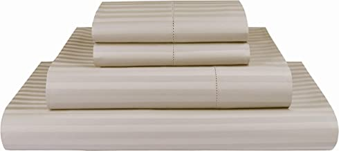 Threadmill Home Linen 600 Thread Count 100% Cotton Sheets, 1CM Damask Stripe Beige, ELS Cotton Bed Sheets, Sateen Fits Mattress Up to 18'' Deep Pocket Twin Beige THM-600-SLD-White-K-$P