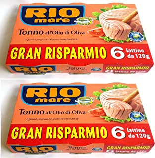 Rio Mare: Tuna Fish in Olive Oil, Yellowfin Tuna Quality 4.23 Ounce (120g) Cans (Pack of 6) - 25.39oz (720g) Total - Pack of 2 [ Italian Import ]