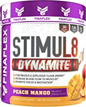 Stimul8 Dynamite, Explosive Preworkout for Men and Women, Continuous Clean Energy for Hours, Increase Performance, Strength, Pumps, 30 Servings (Peach Mango)