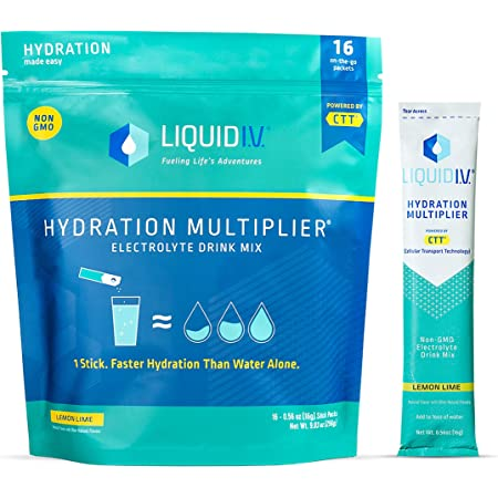 Liquid I.V. Hydration Multiplier - Lemon Lime - Hydration Powder Packets   Electrolyte Supplement Drink Mix   Low Sugar   Easy Open Single-Serving Stick   Non-GMO (Lemon Lime/16 Count)