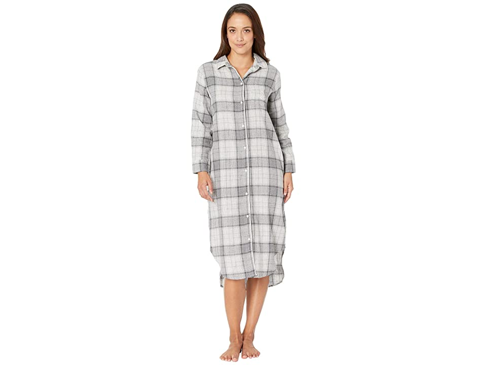 LAUREN Ralph Lauren Petite Long Sleeve Ballet Length Sleepshirt (Grey Plaid) Women
