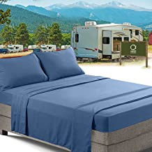 RV/Short Queen Bed Sheets Set Bedding Sheets Set for Campers, 4-Piece Bed Set, Deep Pockets Fitted Sheet, 100% Luxury Soft Microfiber, Hypoallergenic, Cool & Breathable, Blue Heaven