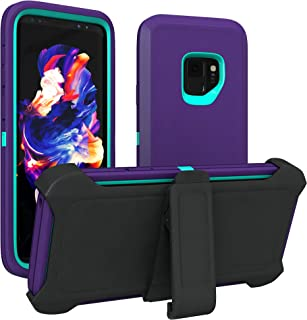 Galaxy S9 Case, ToughBox [Armor Series] [Shock Proof] [Purple | Aqua] for Samsung Galaxy S9 Case [Comes with Holster & Belt Clip] [Fits OtterBox Defender Series Belt Clip for S 9 Phone Cover]