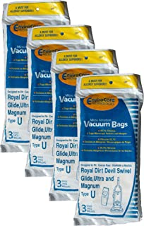 EnviroCare Replacement Micro Filtration Vacuum Bags for Royal Dirt Devil Type U Uprights 12 Pack