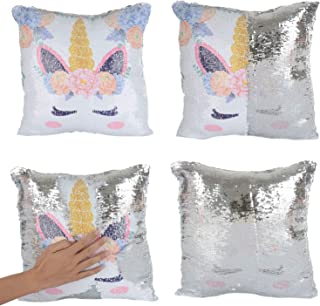 Best Merrycolor Mermaid Pillow Cover, Unicorn Pillow Case Magic Reversible Sequin Pillow Cover Throw Cushion Case Decorative Pillowcase (F Unicorn- Silver Sequins) Review