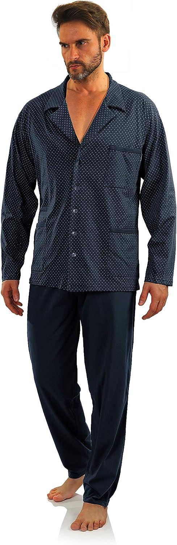 Sesto Senso Pijama Hombre Botones Algodon Abotonado Clasico Invierno 2 Piezas Set Ropa De Dormir Conjunto Set Camisa Manga Larga Pantalones Largos: Amazon.es: Ropa y accesorios