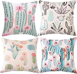 Decorative Cactus Throw Pillow Covers 18 x 18 Inch, ZUEXT Set of 4 Double Sided Summer Style Green Plants Cotton Linen Burlap Square Cushion Cover Pillow Cases for Girls Women Kids Car Sofa Home Decor