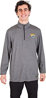 Ultra Game Mens NFL Moisture Wicking Soft Quarter Zip Long Sleeve Tee Shirt, Jacksonville Jaguars, Heather Gray, Small