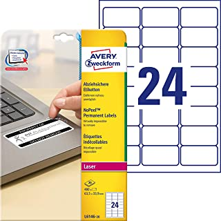 Avery L6146-20 Extra-Strong Adhesive NoPeel Permanent Labels, 24 Labels Per A4 Sheet, White