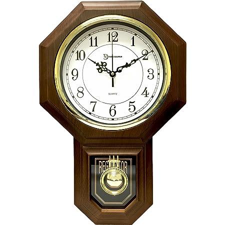 Timekeeper Essex Westminster Chime Faux Wood Pendulum Wall Clock 17 5 X 11 25 Walnut Home Kitchen