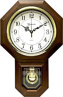 """Timekeeper Essex Westminster Chime Faux Wood Pendulum Wall Clock, 17.5"""" x 11.25"""", Walnut"""