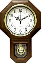 Timekeeper Essex Westminster Chime Faux Wood Pendulum Wall Clock, 17.5