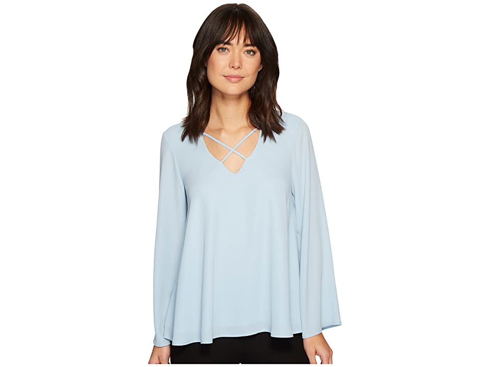 Karen Kane Crisscross Flare Sleeve Top (Light Blue) Women