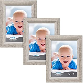 Icona Bay 5x7 Picture Frame (3 Pack, Heritage Gray Wood Finish), Gray Photo Frame 5 x 7, Composite Wood Frame for Walls or Tables, Set of 3 Cherished Memories Collection