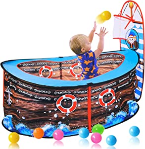 OldPAPA Kids Play Tent, Pirate Ship Play Tent with Basketball Hoop Foldable Pop Up Play Tent Game Toy Pool Indoor Outdoor Garden Playhouse Game Fence for Toddler Boys Girls