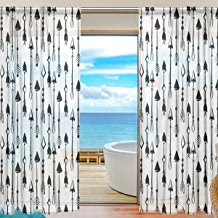 """SAVSV Window Sheer Curtains Panels Voile Drapes Morden Black And White Arrows 55"""" W x 84"""" L 2 Panels Great For Living Room Bedroom Girl's Room"""