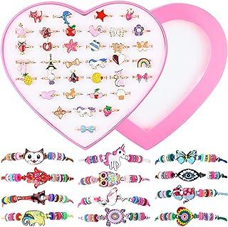 Bracelet et Bague Fille, MEOWMEE 48 PCS Bracelet Amitié Fille et Réglables Bagues pour Enfants Bagues Petites Filles Enfan...