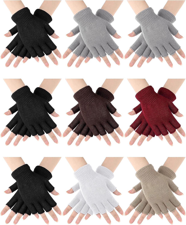 9 Pairs Half Finger Gloves Unisex Knitted Warm Gloves Winter Fingerless Gloves