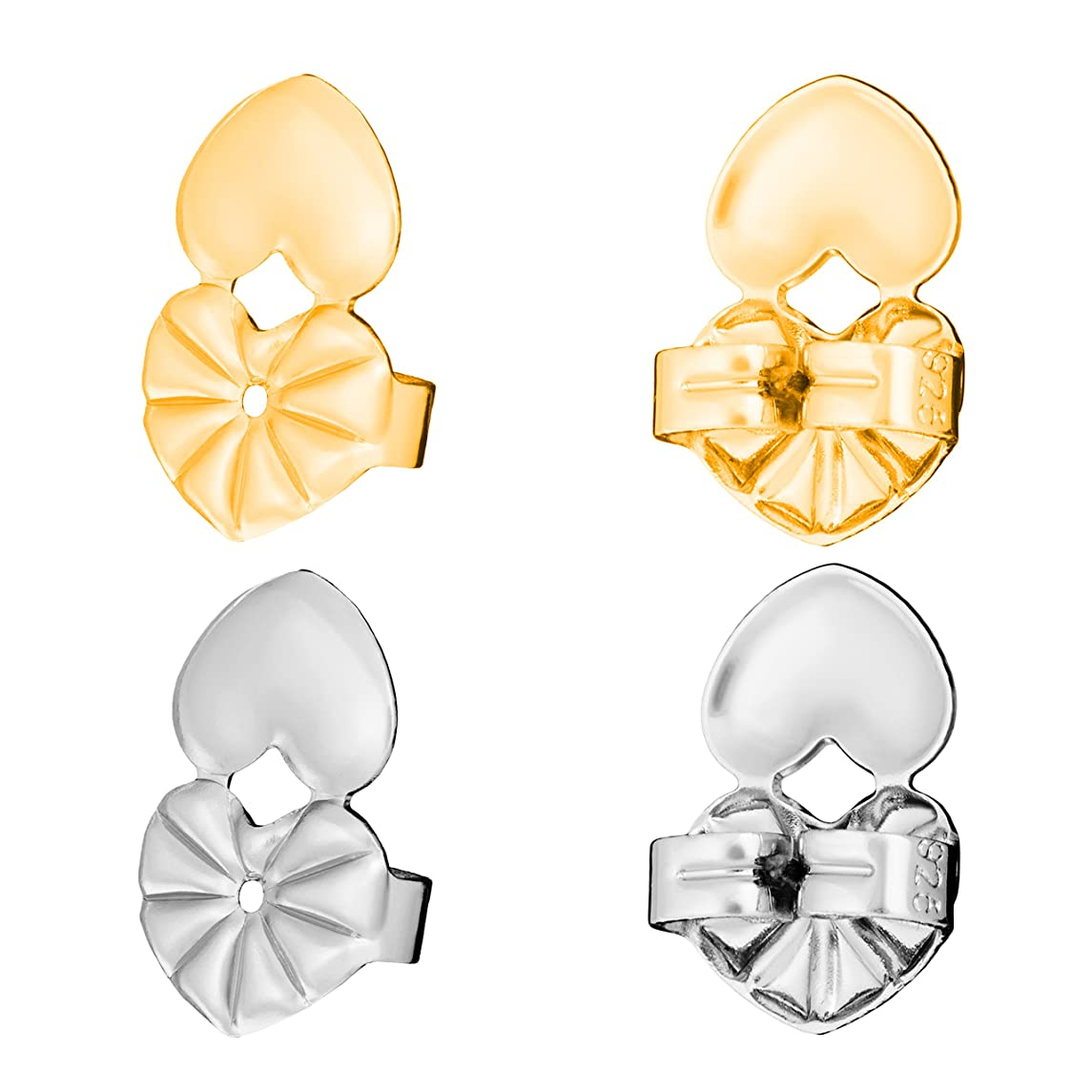 K&P Beauty Glamorous Earring Lifts to Instantly Lift Earring Backs - Securely Raise Stretched Ear Lobes with Earring Backs Lifters - 2 Pairs - Silver and Gold
