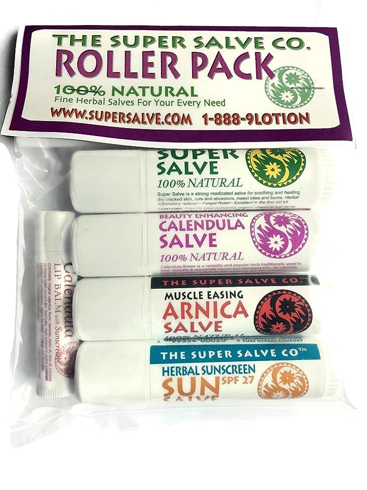 Super Salve Co. 100% Natural Herbal Travel Salves and Lip Salve Balm- Super Salve, Calendula Salve, Arnica Salve, Sun Salve (Salve Tubes (5 Pack)