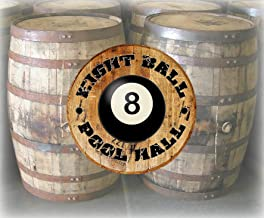 Rustic Home Decor Personalized Whiskey Barrel Lid Pool Hall Billiards Ball Bar Sign Man Cave