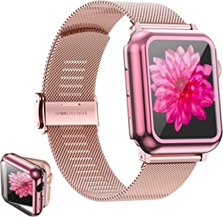 Girovo Compatible with Apple Watch Bands 38mm Women Girls, Stainless Steel Mesh iWatch Bands with Screen Protector Case Co...