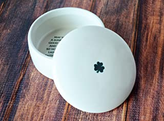 Baptism Gift or First Communion Gift - SHIPS FAST - With Irish Blessing - Round Keepsake Box