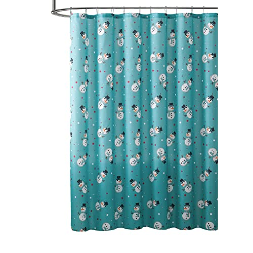 VCNY Home Holiday Winter Fabric Shower Curtain Snowman Design Aqua Teal Blue Red White