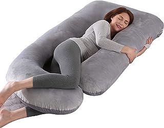 ARNTY Almohada Embarazada U Dormir,Almohada de Embarazo de Cuerpo Completo,Multifuncional Almohada para el Embarazo en Forma de U como Embarazo Regalo (Gris Claro-Terciopelo)