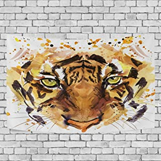 WOOR Tapestry Wall Hanging Vintage Cool Tiger Head Art Wall Tapestry for Living Room Bedroom Dorm Home Decor 60x40 Inches