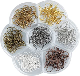 Linsoir Beads Assorted Colors Iron Wire Earring Hooks with Large Loop Pack of 140 pcs