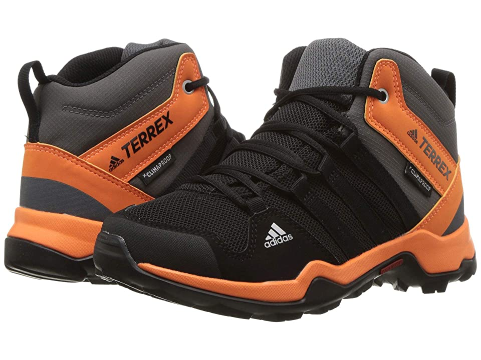 Image of adidas Outdoor Kids Terrex AX2R Mid CP (Little Kid/Big Kid) (Black/Black/Hi-Res Orange) Boys Shoes