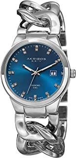 Akribos XXIV Women's Silver Swiss Quartz Diamond-Date Watch - Teal Sunburst Dial - Luminous Hands - Chain Style Link Bracelet - AK759