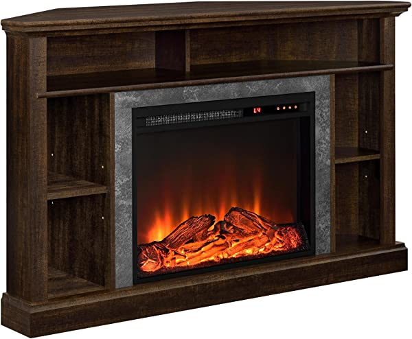 Ameriwood Home Overland Electric Corner Fireplace For TVs Up To 50 Wide Espresso
