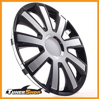 Tunershop 16 Zoll Radkappen Radzierblenden Radblenden passend für Nissan Stahlfelgen #2433015 schwarz/Silber Winter Sommer