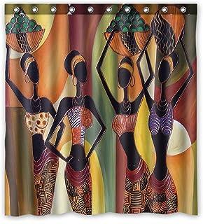 KXMDXA Distinctive Cartoon African Woman Waterproof Bathroom Shower Curtain Polyester Fabric 66x72 inches