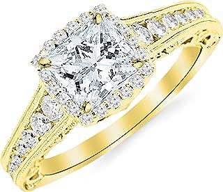 2.75 Carat 14K White Gold Vintage Halo Style Channel Set Round Brilliant Diamond Engagement Ring Milgrain with a 2 Carat Moissanite Center