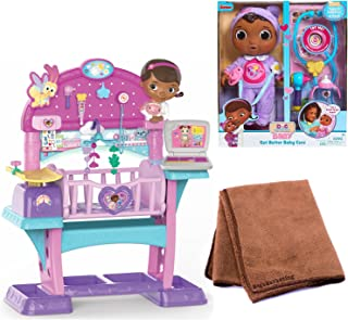 Just Play Doc Mcstuffins Baby All in One Nursery Toy and Just Play Doc Mcstuffins Get Better Baby Cece Doll, Bundle with Cleaning Cloth