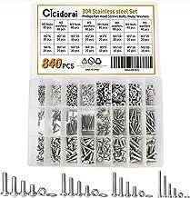 Cicidorai 840 Pcs M2 M3 M4 M5 304 Stainless Steel Phillips Pan Head Screws Bolt Flat Washers & Nuts Assortment Kit, Full M...
