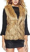 Caracilia Women's Fashion Autumn and Winter Warm Short Faux Fur Vests Waistcoat Jacket with Pockets