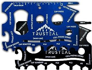 TRUSTEAL Wallet Multitool Card - Two Pack Black & Blue - Beer Bottle Can Opener Tool Cards - Cell Phone Gadget - Survival Gadgets Kit for Men - EDC Tools Pocket Screwdriver Ruler - Best Flat Steel Set