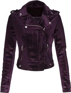 Glam and Gloria Womens Purple Velvet Moto Biker Jacket