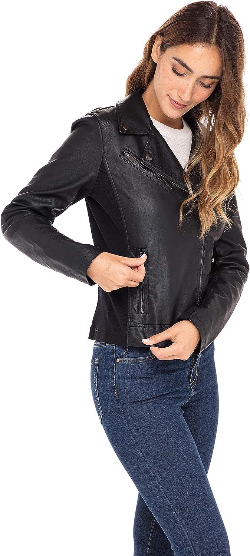 Sebby Collection Women's Jackets Faux Leather Moto Biker Jacket