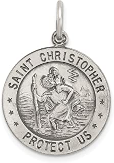 Round Saint Christopher Protect Us Words Soccer Player Penny Size Charm In 925 Sterling Silver 23x18mm