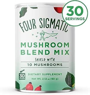 Four Sigmatic 10 Mushroom Blend - Lions Mane, Reishi, Chaga, Cordyceps, Enoki, Maitake, Shiitake, Tremella, Meshima, Agaricus Blazei - Dual-Extract Superfood Mushroom Powder - 60g - 30 servings