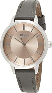 Hugo Boss Women's Carnation Gold Dial Grey Leather Watch - 1502510