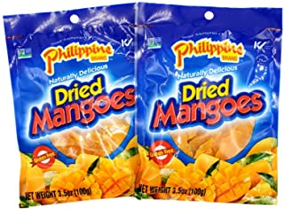 Philippines Dried Mangoes, Double Pack Snack Box, Two 3.5-oz Dried Mangoes