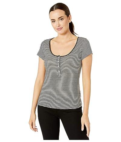 Alternative Eco Scoop Henley (Eco Black Classic Stripe) Women