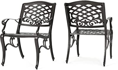 Christopher Knight Home 239073 Deal Furniture Covington   Outdoor Cast Aluminum Dining Chair  , Set of Two, Antique Bronze