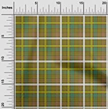 oneOone Cotton Cambric Dark Olive Green Fabric Madras Check Quilting Supplies Print Sewing Fabric by The Meter 56 Inch Wide
